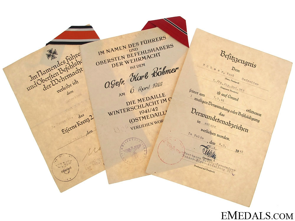 eMedals-Documents to Panzerjäger-Abt. 263