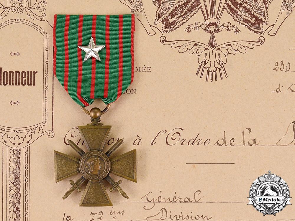eMedals-France, Republic. A Croix de Guerre with Document to Telephonist Marcel François Bedabourg