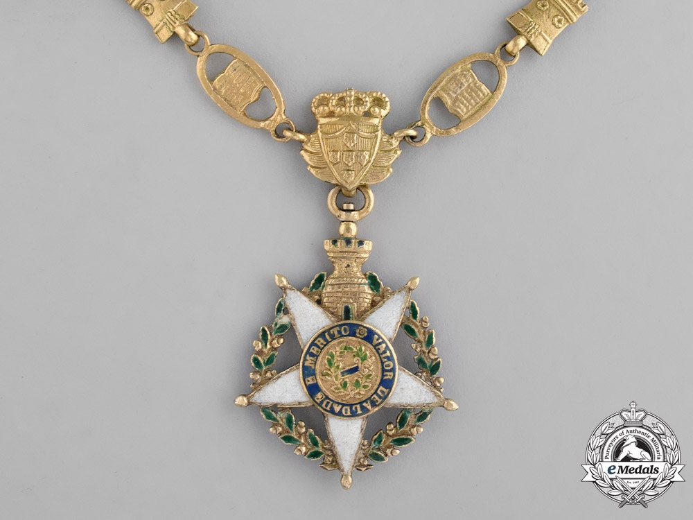 eMedals-Portugal, Kingdom. An Order of the Tower and Sword, 2nd Class Officer's Collar in Gold, c.1860