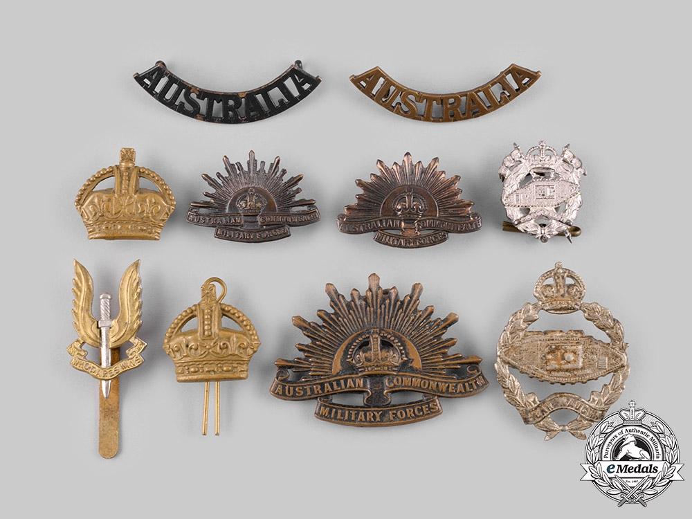 eMedals-Australia, United Kingdom, Rhodesia. Ten Badges & Insignia