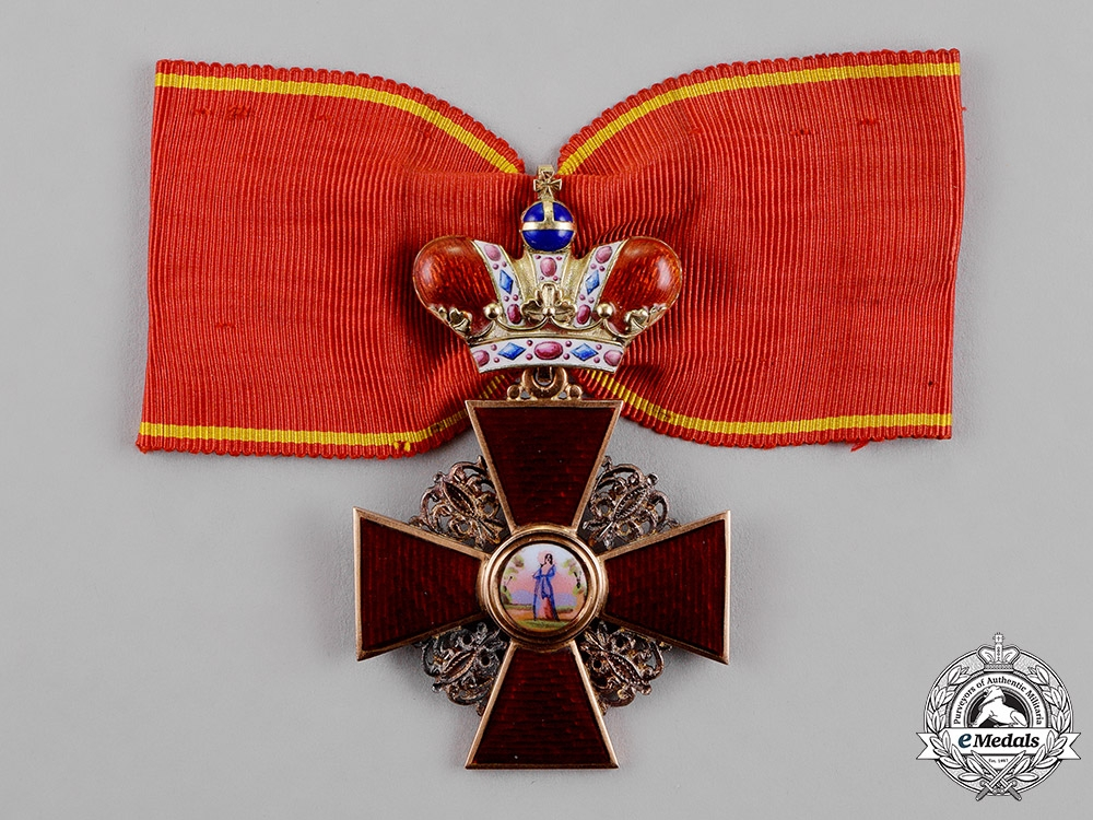 eMedals-Russia, Imperial. A Rare Order of St.Anne with Crown in Gold, 2nd Class, by Julius Keibel, c.1870