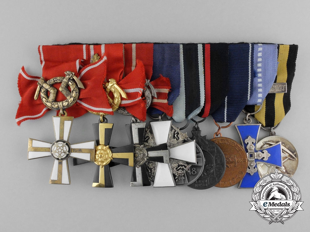 eMedals-A Fine Second War Finnish Medal Bar with Nine Awards