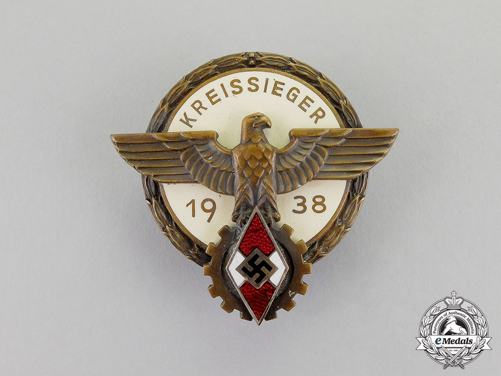 "eMedals-Germany. A 1938 HJ Victor's ""Kreissieger"" Badge in the National Trade Competition"