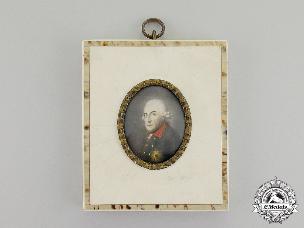 eMedals- Germany. An Imperial German Framed Portrait of Prussian King Frederick the Great