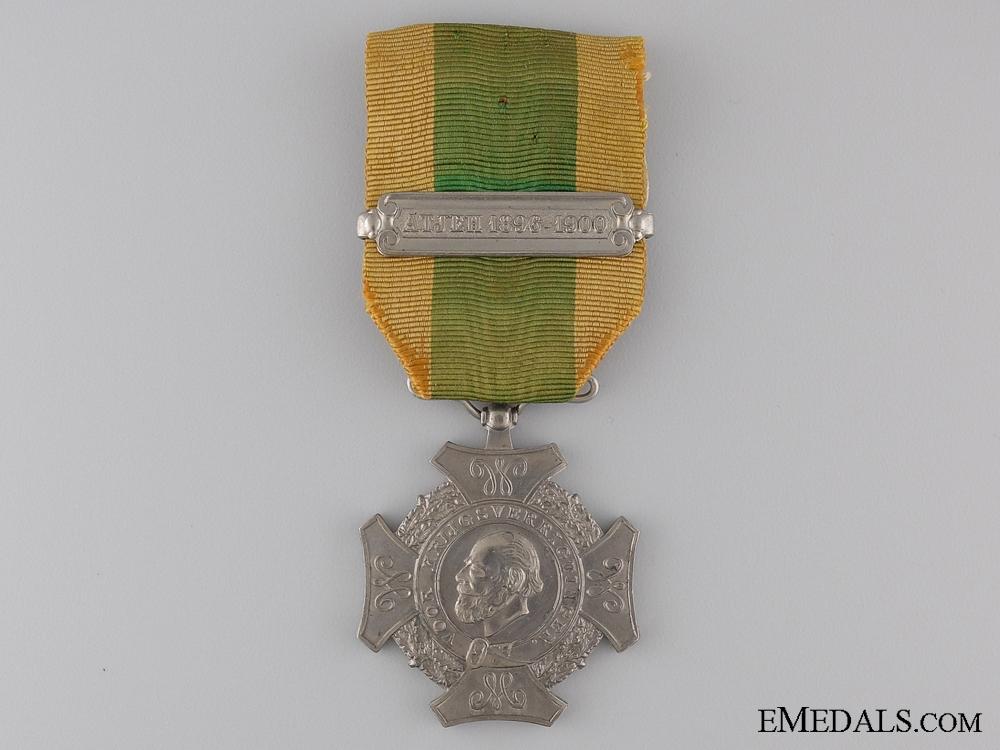 eMedals-Dutch Expedition Campaign Cross; ATJEH 1896-1900 Bar