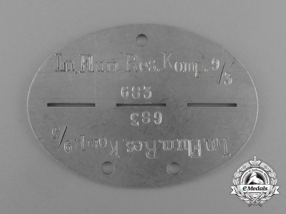 eMedals-A Scarce Luftwaffe Luftnachrichten Flugmeldereservekompanie 9/3 Identification Tag