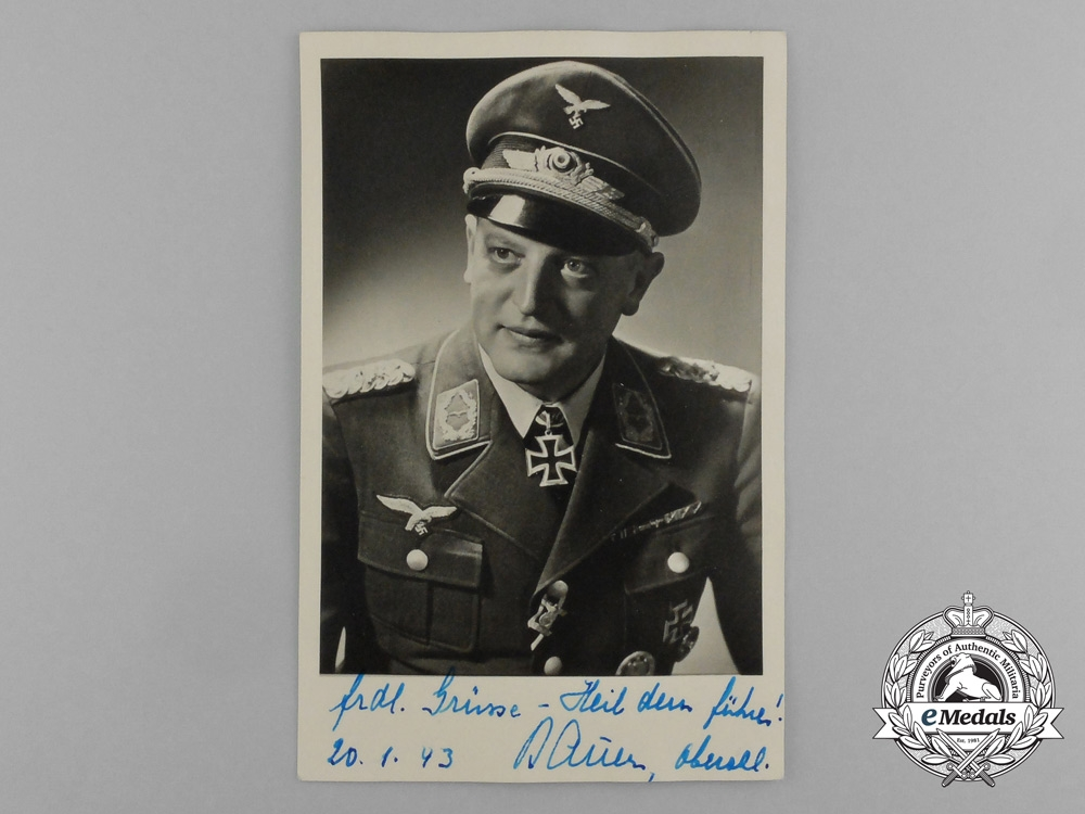 eMedals-A Wartime Picture Postcard of Signed by Knight's Cross Recipient Major Oskar Bauer