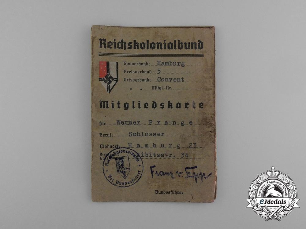 eMedals-A RKB (Reichskolonialbund) Membership Booklet Belonging to Werner Prange