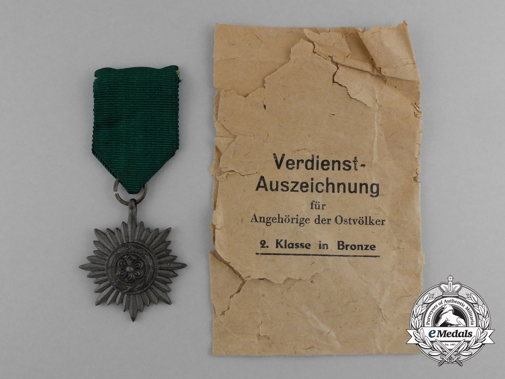 eMedals-A Bronze Grade Ostvolk Merit Medal in its Original Packet of Issue