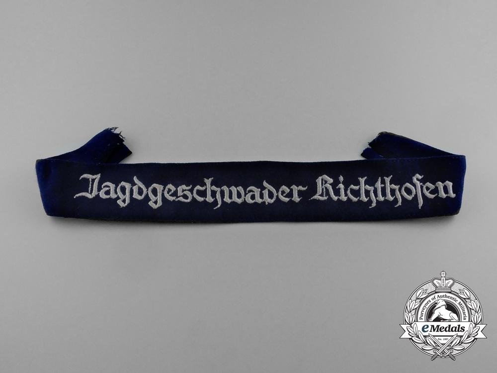 """eMedals-A Fine Quality Luftwaffe Jagdgeschwader 2 """"Richthofen"""" Cuff Title"""