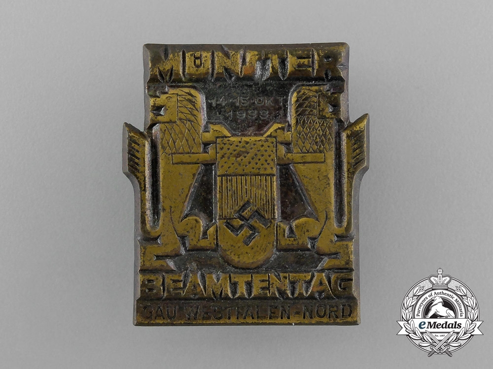 eMedals-Germany, Third Reich. A 1933 Münster National Day of Civil Servants Badge, by Overhoff & Cie