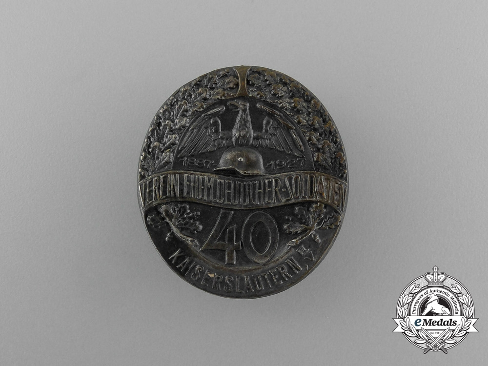 eMedals-Germany, Weimar Republic. A 1927 Kaiserslautern Association of Retired Soldiers Badge