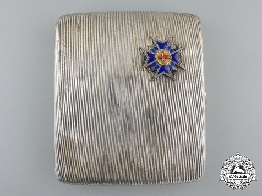 eMedals-A Silver Cigarette Case with Insignia of Bavarian St. George Awarded to Officer 1901