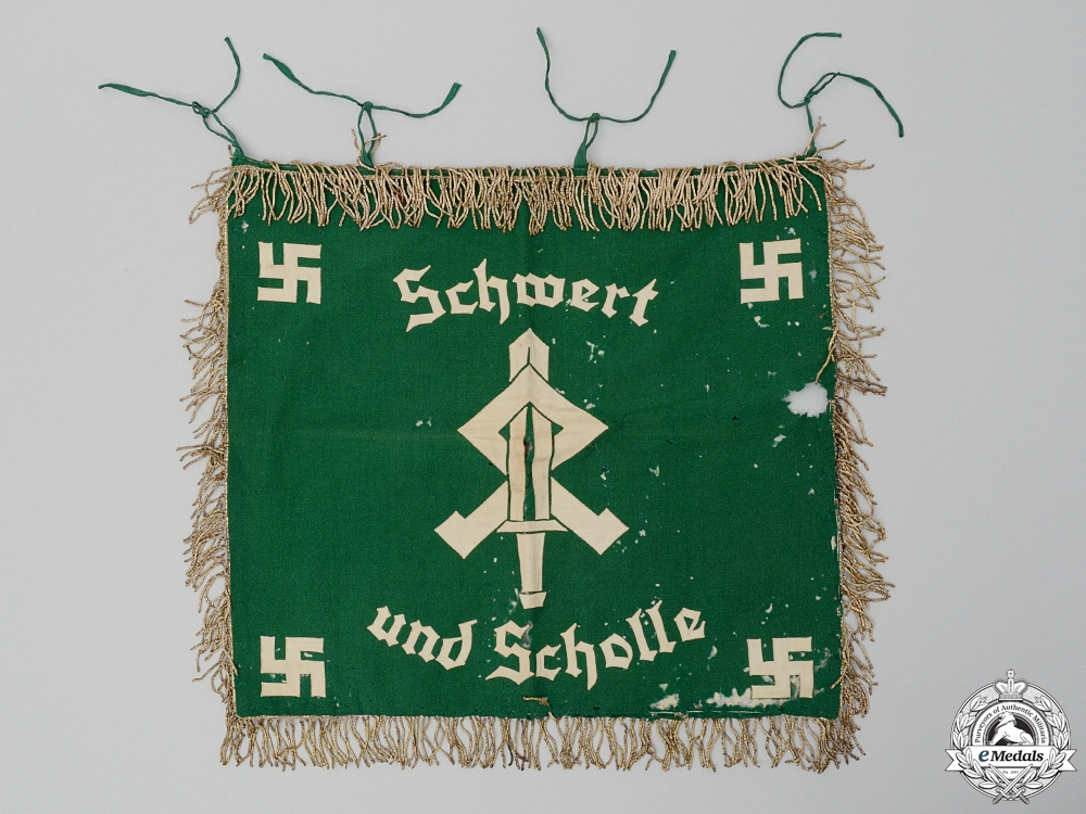 "eMedals-An HJ & League of German Girls ""Landjahr"" Farm Service Sword and Sod Trumpet Banner"