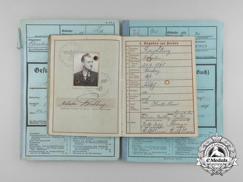 eMedals-A Wehrpaß & Documents to the Landschutz Battalion 847 Bamberg