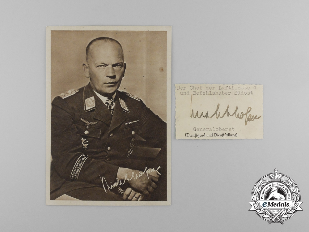 eMedals-A Picture Postcard with Wartime Signature of  Colonel General Freiherr von Richthofen
