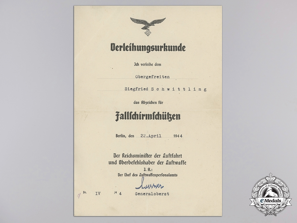 eMedals-An Award Document for Luftwaffe Paratrooper's Badge