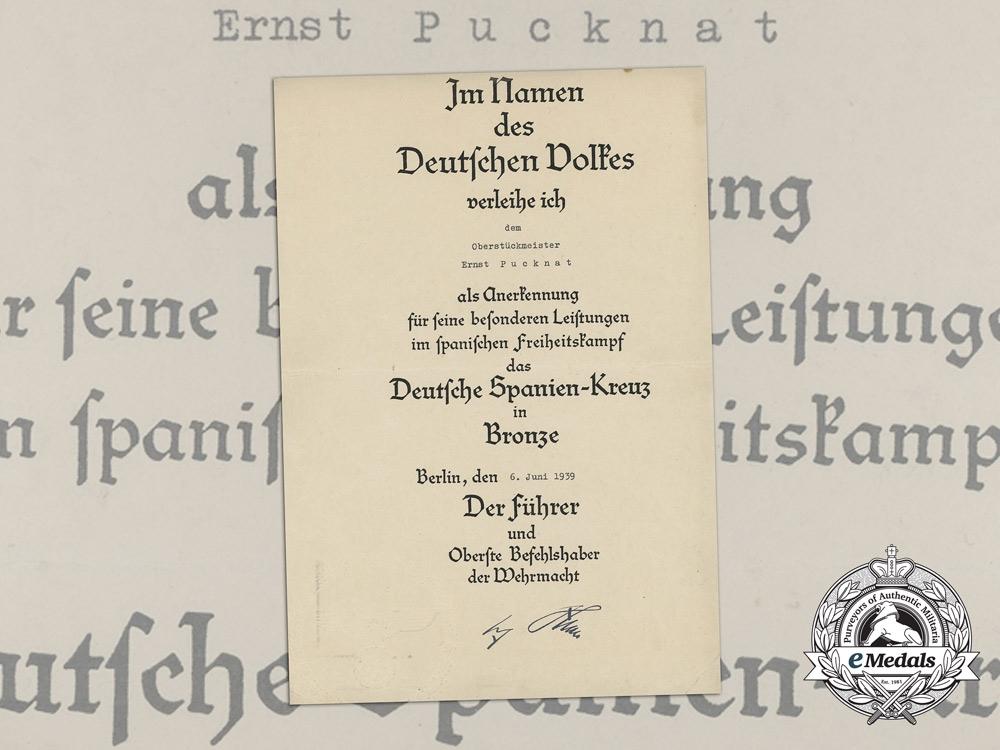 eMedals-Germany, Kriegsmarine. A Spanish Cross Award Document to Gunner Ernst Pucknat