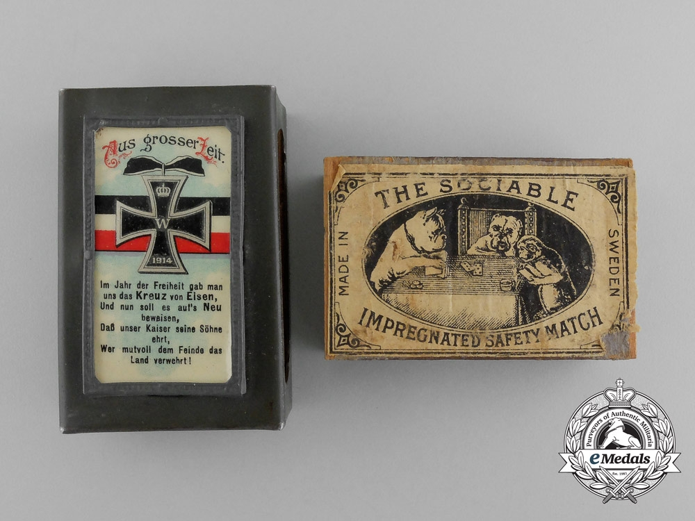 """eMedals-A First War German """"From the Great Age"""" Matchbox Cover with Matchbox"""
