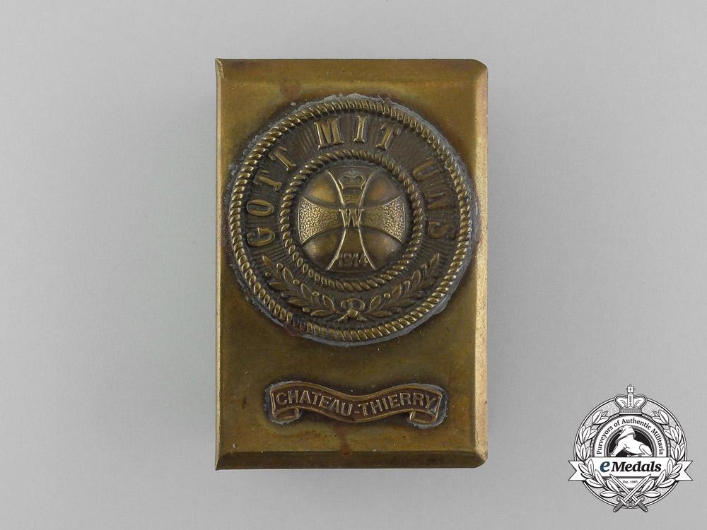 """eMedals-A First War German """"Gott Mit Uns"""" Chateau-Thierry Matchbox Cover"""