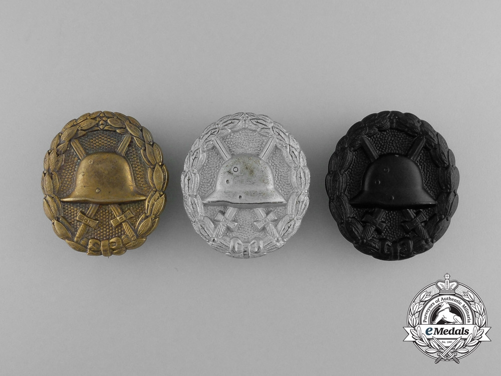 eMedals-Three First War German Imperial Wound Badges