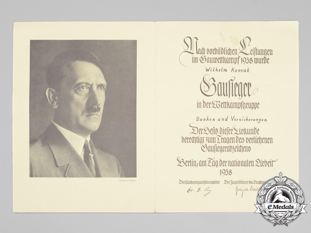 A National Vocational Competition Gau winner certificate to Wilhelm ...