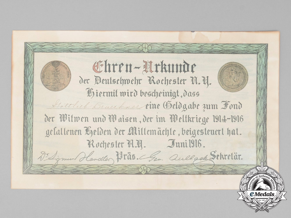 eMedals-An American 1916 Bond to the Widows & Orphans of the Fallen Germans