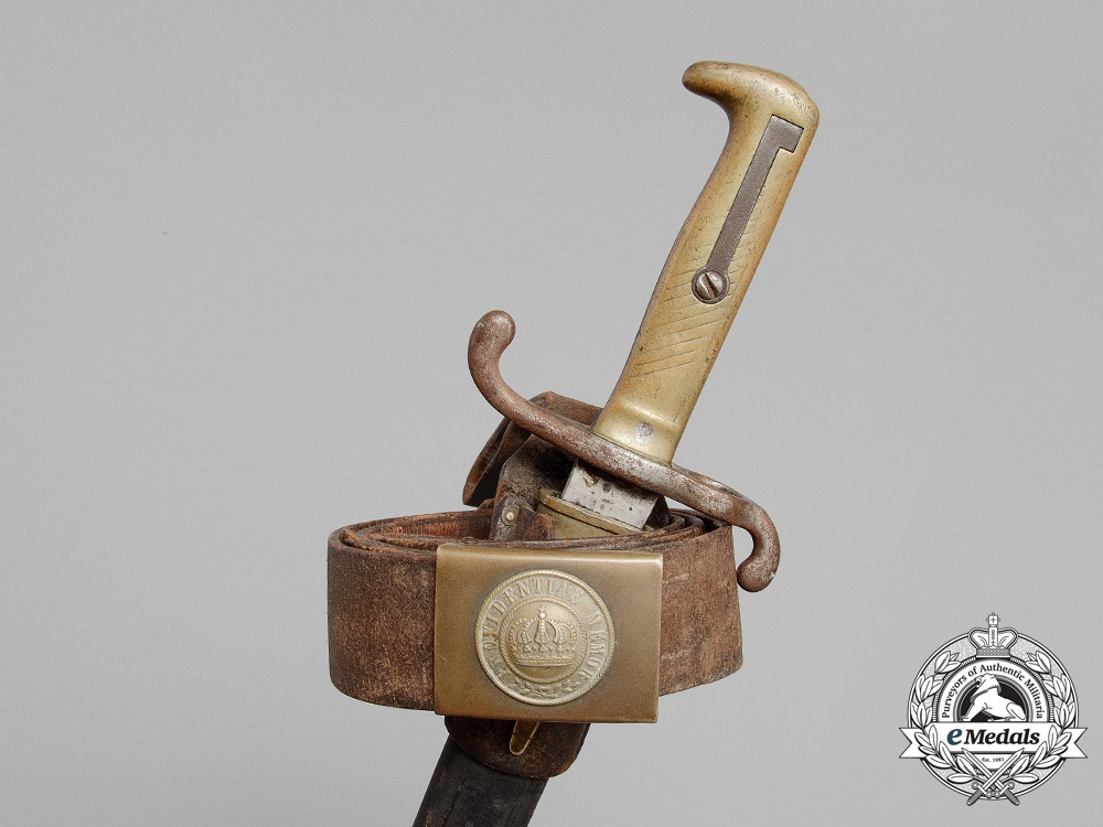 eMedals-A Franco-Prussian War Saxon Enlisted Man's Belt with Buckle and M1871 Bayonet