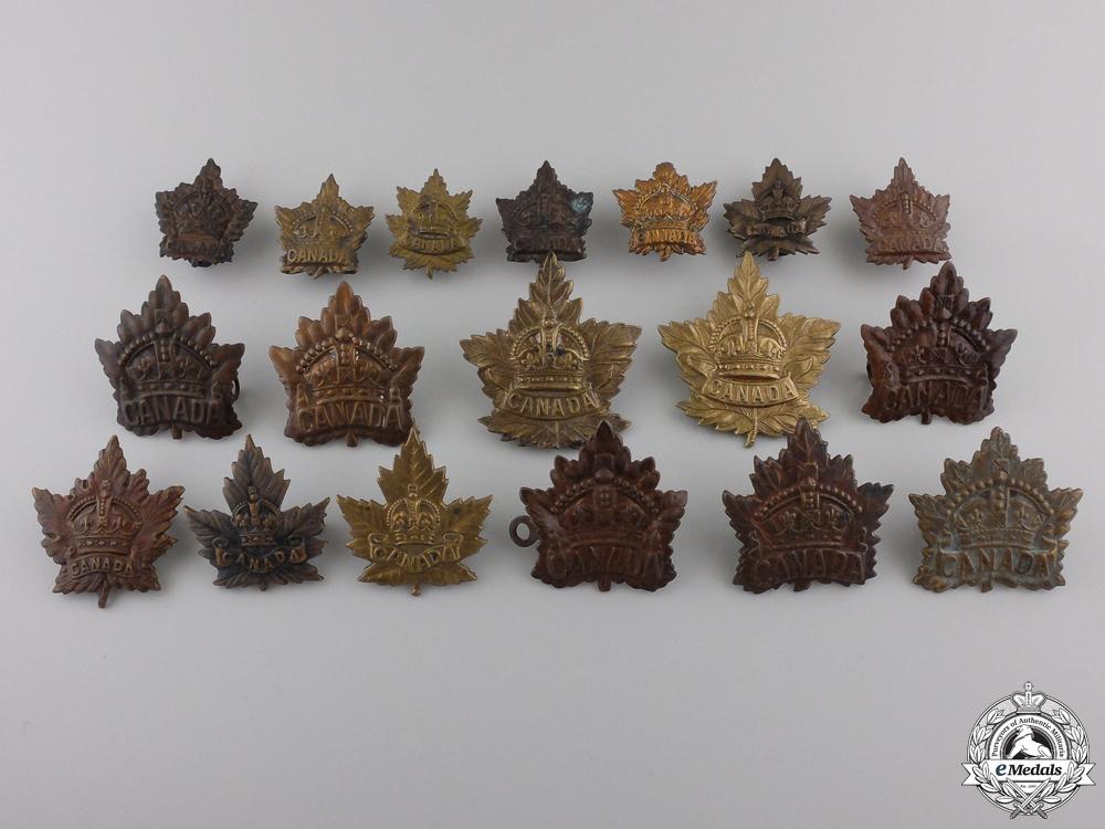 eMedals-Eighteen First War Canadian General Service Cap & Collar Badges