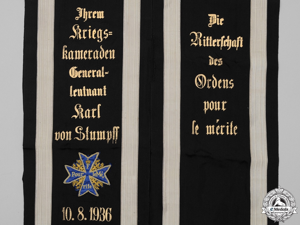 eMedals-The Pour-le-Merite Funeral Sashes of Generalleutnant Karl von Stumpff