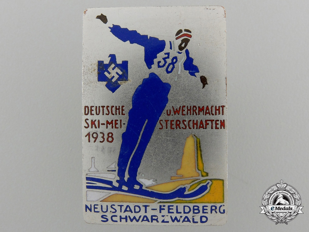 eMedals-A 1938 Wehrmacht Ski Championships Badge by B.H Mayer