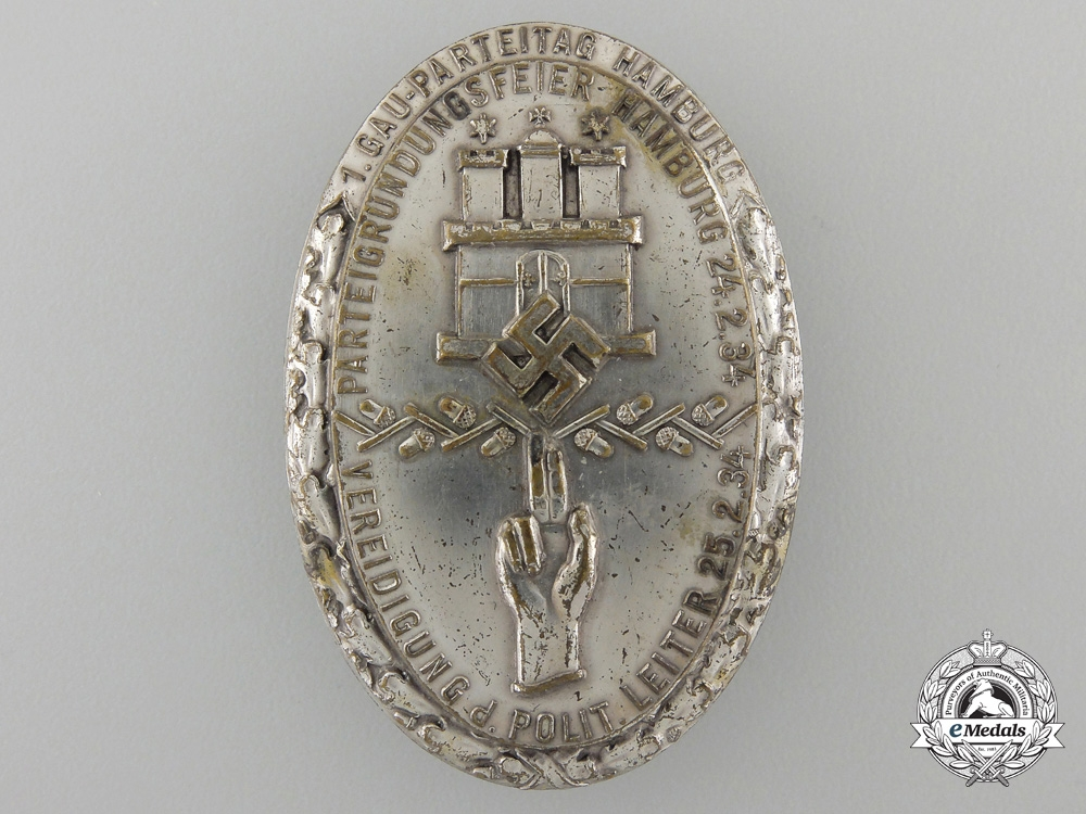 eMedals-A 1934 1. GAU -Parteitag Hamburg Badge