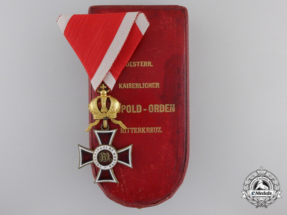 eMedals-A First War Austrian Order of Leopold with Case by C.F. Rothe