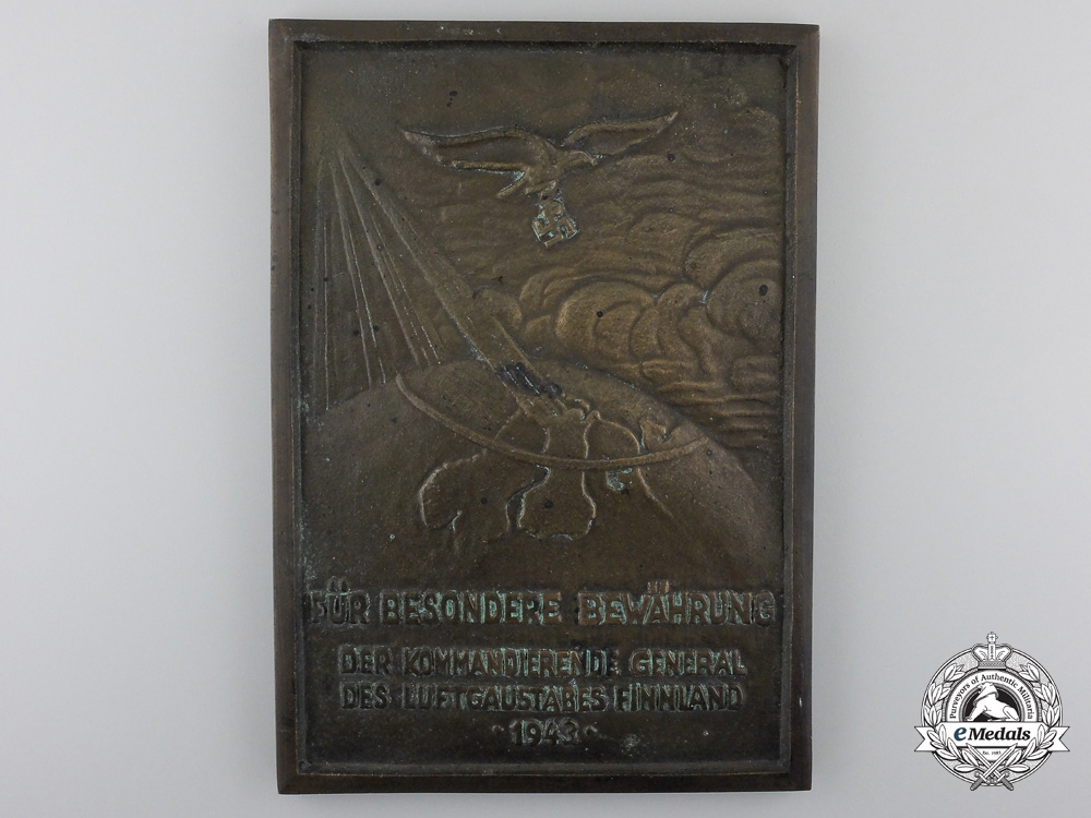 eMedals-A Luftwaffe Honor Plaque for Finnish Air District 1943