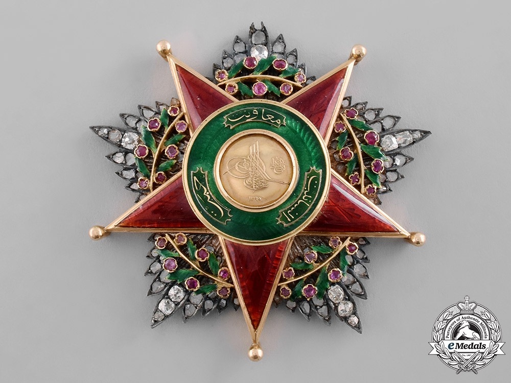 eMedals-Turkey, Ottoman Empire. An Order of Charity, I Class Star in Gold, Diamonds, & Rubies, c.1900