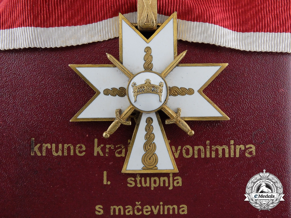 eMedals-Croatia, Independent State. Order of King Zvonimir's Crown; 1st Class with Swords in Case