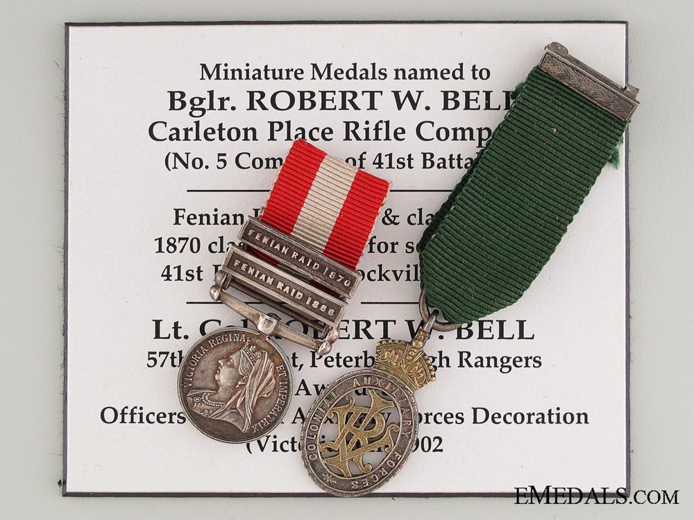 eMedals-Fenian Raid Miniature Pair to Lieutenant Colonel Robert W. Bell