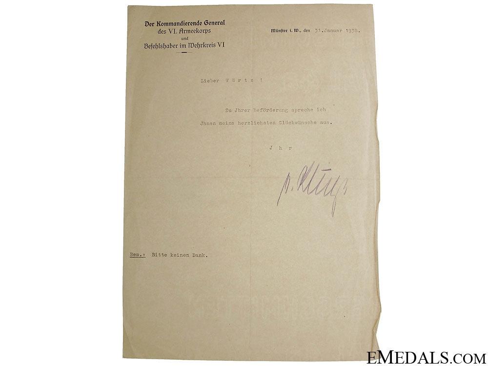 """eMedals-Field Marshal G¡_nther """"¢�Hans""""¢� von Kluge Signature"""