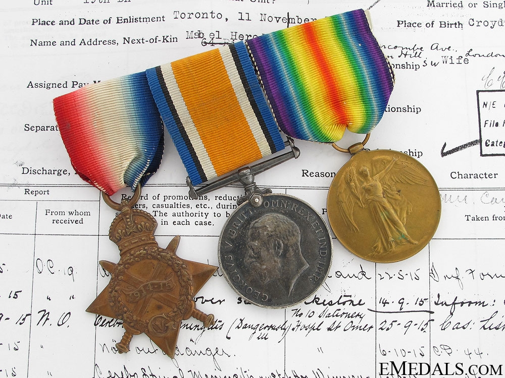 eMedals-First War Trio to the 19th Canadian Infantry