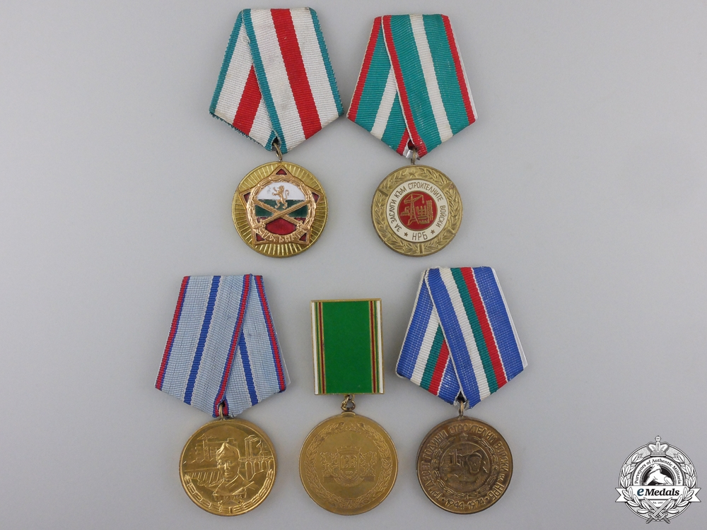 eMedals-Five Bulgarian Construction Corps Medals