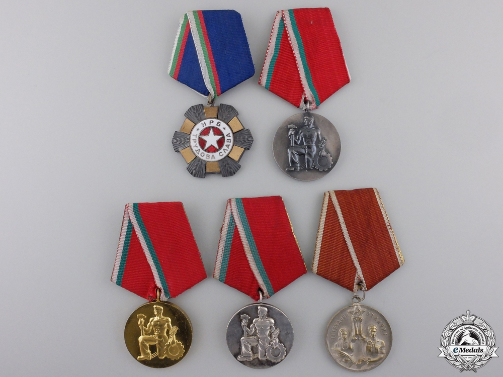 eMedals-Five Bulgarian Labour Orders, Medals, and Awards