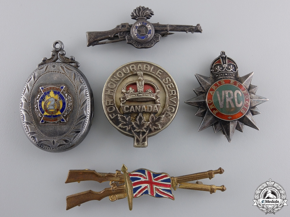 eMedals-Five First & Second War Canadian Badges & Pins