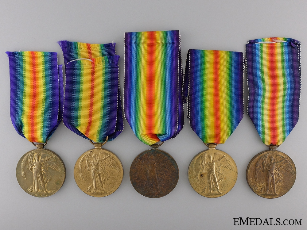 eMedals-Five First War British Victory Medals