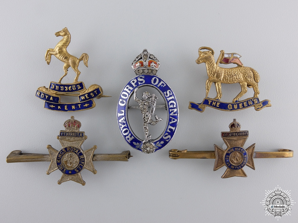 eMedals-Five First War British Regimental Badges