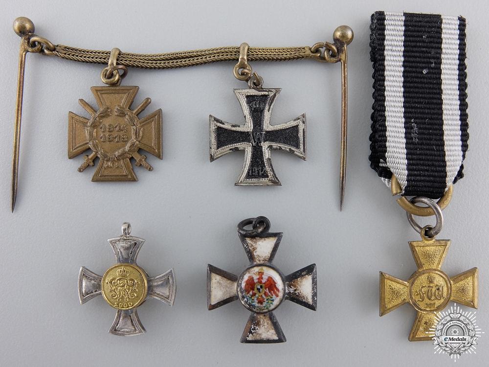 eMedals-Five Miniature First War Prussian Medals & Awards