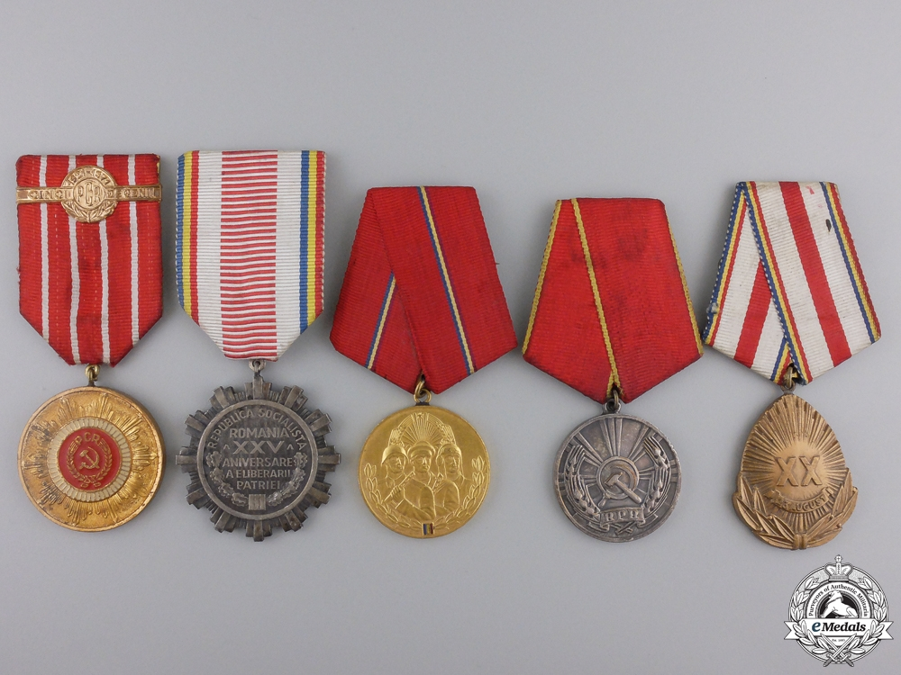 eMedals-Five Romanian Socialist Medals and Awards