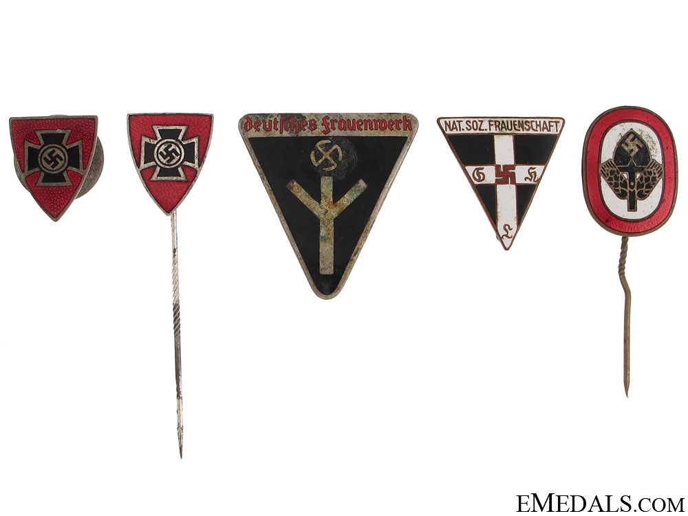 eMedals-Five Third Reich Period Enameled Badges
