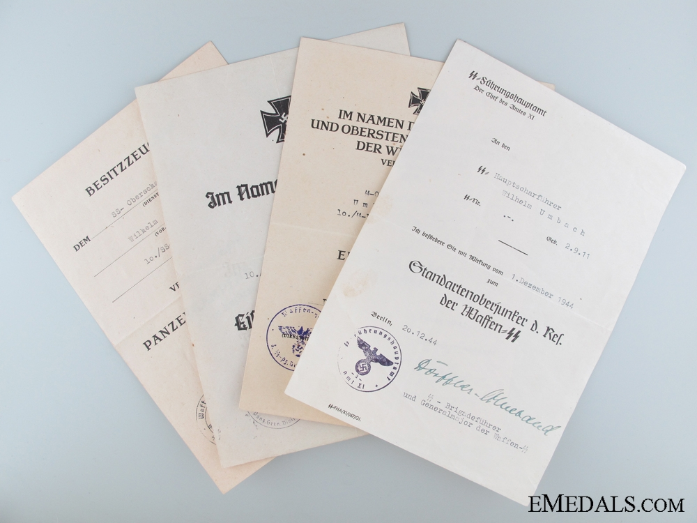 eMedals-Four Award Documents to the SS-Pz. Gren.Rgt.5. Totenkopf