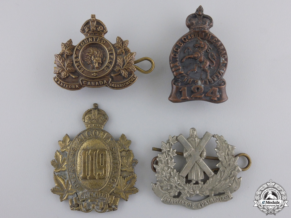 eMedals-Four First War Canadian Collar Badges