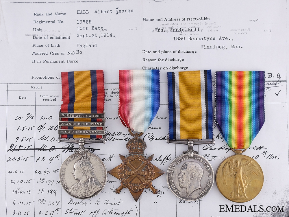 eMedals-Four Medals to Private A.Hall; Wounded at Kitcheners' Wood 1915